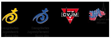Evangelisches Jugendwerk Bezirk Ulm, Evangelisches Jugendpfarramt Bezirk Ulm, CVJM Ulm, JAM Jugend am Münster Ulm – Logos der Einrichtungen und Vereine